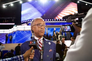 Al Sharpton attends the 2016 Democratic national convention at Wells Fargo Center in Philadelphia, Pennsylvania, on 25 July 2016.
