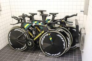 Australian bikes stored in a bathroom