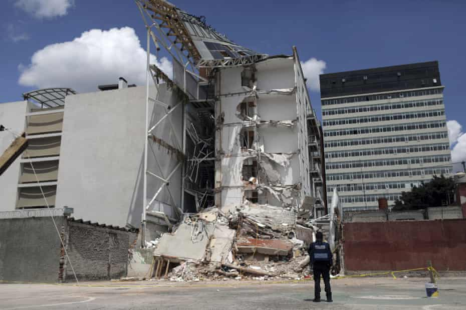 An apartment building that was partially destroyed during the 7.1-magnitude earthquake