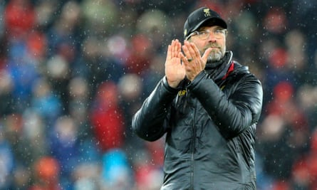 Jürgen Klopp applauds the home supporters after Liverpool's 5-0 victory over Huddersfield at Anfield