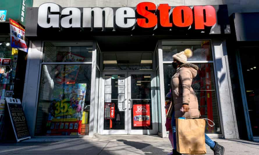 The share price of video game retailer GameStop Corp rose 700% in two weeks due to amateur investors.