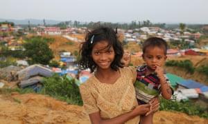 Rohingya refugee children at a camp in Cox''s Bazar, Bangladesh.