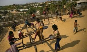 Rohingya children playing in Cox's Bazar.