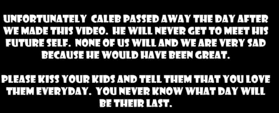The message at the end of Caleb's final video