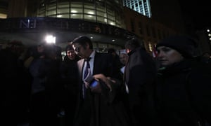 American Civil Liberties Union (ACLU) Lawyer Omar C. Jadwat speaks outside of the US District Court in New York, where a judge issued an emergency stay for those detained at airports.