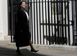 Minister for Employment Priti Patel arrives for Britain's Prime Minister David Cameron's first cabinet meeting at 10 Downing Street, in Westminster