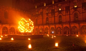 A fire installation by Compagnie Carabosse at Durham Cathedral.