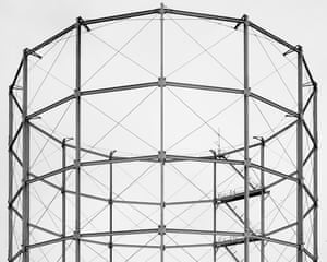 A gas holder tower in Leeds, London by photographer Martin Chivers.