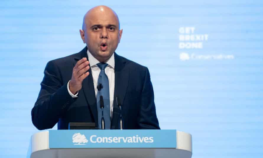 Sajid Javid speaking at the Conservative party conference
