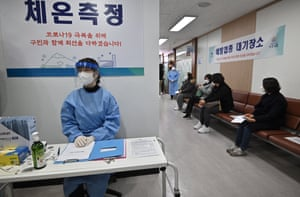 The scene at a health care centre in Seoul, South Korea, on Friday