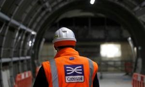 A Crossrail worker in London.