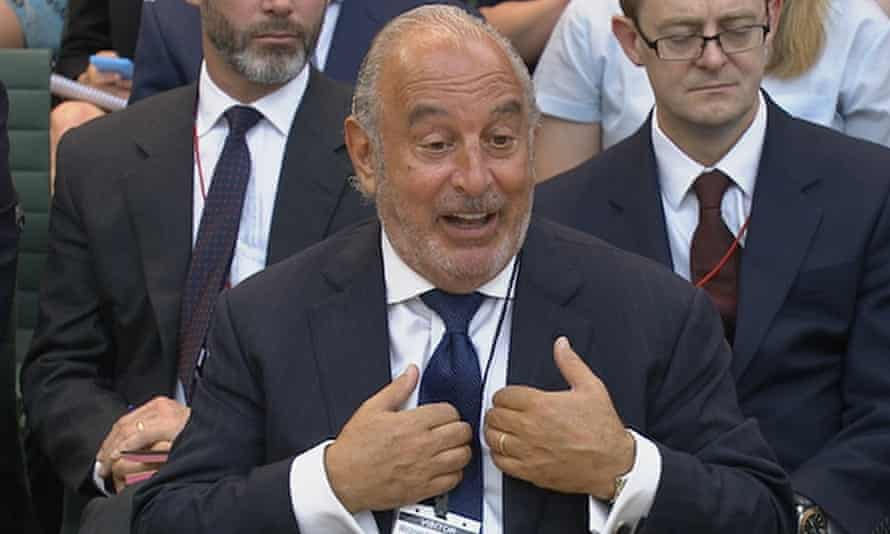 Sir Philip Green speaks before parliament's business select committee