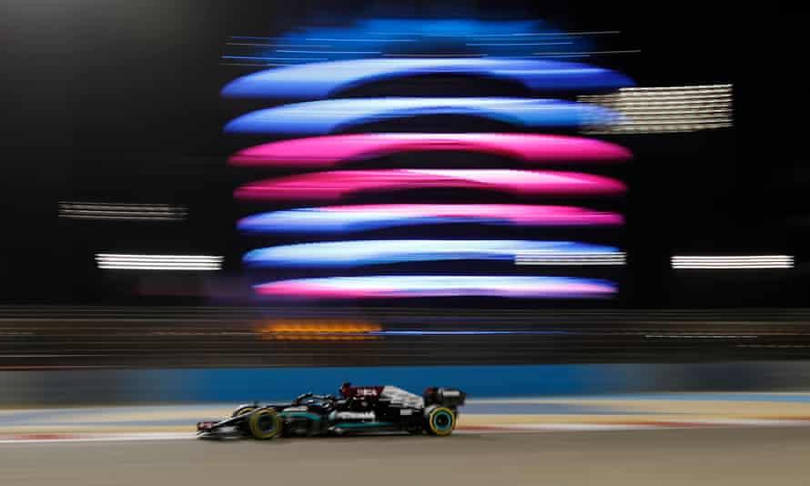 Mercedes's Lewis Hamilton during practice in Bahrain.