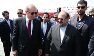 Recep Tayyip Erdoğan welcomed by Mohammad Shariatmadari
