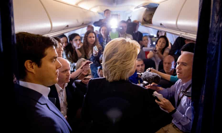 Amy Chozick is part of the traveling press pack questioning Hillary Clinton onboard her campaign plane.