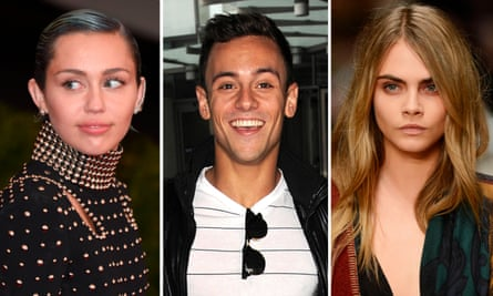 Miley Cyrus, Tom Daly and Cara Delevingne