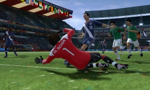 In this video game image by EA Sports, the US' Landon Donovan (10) scores past Mexico goalkeeper Guillermo Ochoa in the 2010 World Cup.