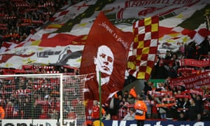 Liverpool supporters on the Kop at Anfield pay homage to Rafa Benítez during his time as manager of the club in 2008.
