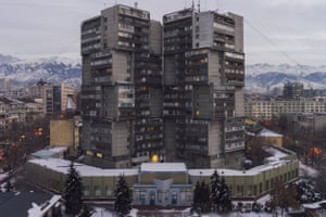 p185 'Twin-towers' on the Arbat, Almaty, Kazakhstan Built in 1984 Architects: R. Sarukhanyan, E. Sholokhova, I. Grave: Almatytelekom – the urban center of telecommunications – is located in the annex that surrounds these high-rise buildings.
