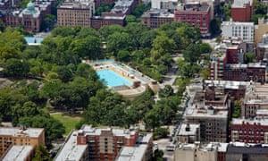 Marcus Garvey park, Harlem, New York, US.