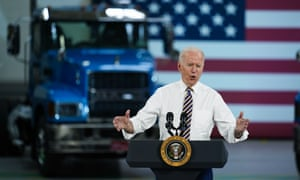 Joe Biden speaks during a visit to the Lehigh Valley operations facility for Mack Trucks in Macungie, Pennsylvania.