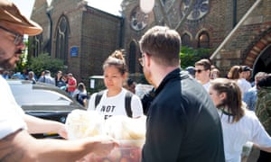 People deliver supplies to St Clements Church