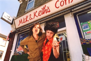 Phil Cornwell (as Mick Jagger) and Sessions (as Keith Richards) in TV comedy Stella Street, BBC, 1998