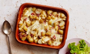 Thomasina Miers' tartiflette with jersey royals and pancetta.