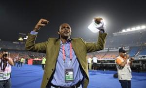 Nwankwo Kanu celebrates Nigeria's quarter-final win.