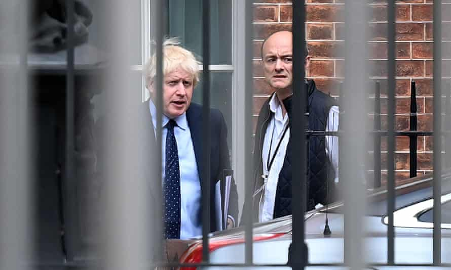 Boris Johnson, and his chief adviser, Dominic Cummings, right, last September