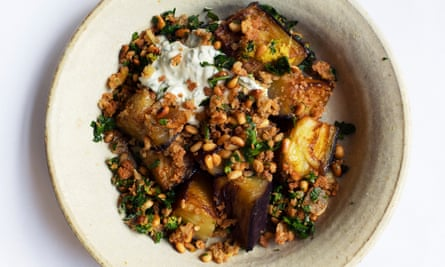 'You can eat this as it is, but I like to make a sauce for it': aubergine with pine nuts and parsley.