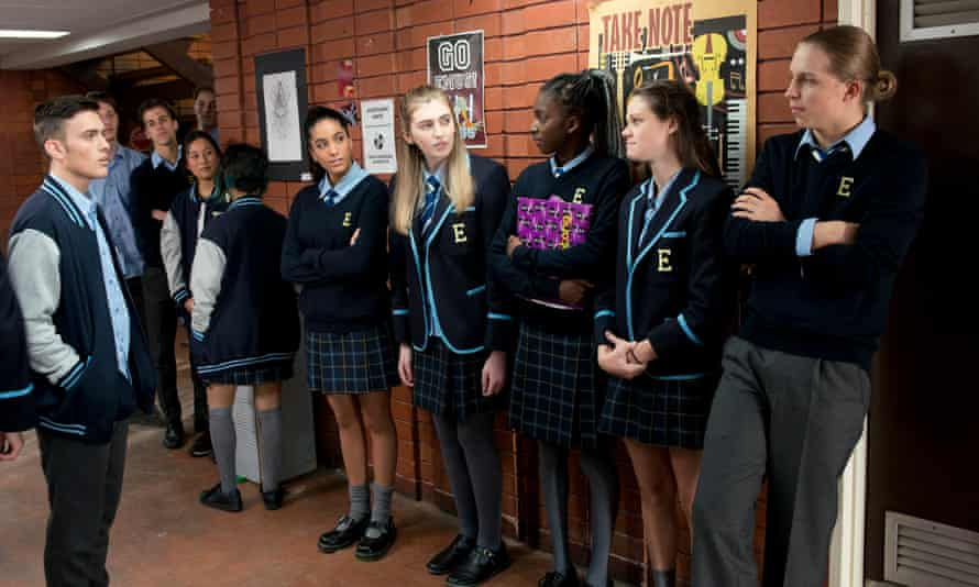 Students stand united in support of Mackenzie Hargraves (centre) using the female bathroom in a still from Neighbours.