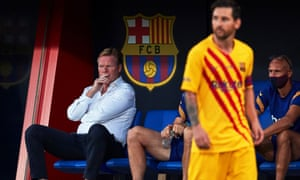 FC Barcelona vs Gimnastic de Tarragona<br>epa08664907 FC Barcelona's head coach Ronald Koeman (L) reacts next to Lionel Messi (R) during the pre-season friendly soccer match between FC Barcelona and Gimnastic de Tarragona at Johan Cruyff Stadium in Barcelona, Spain, 12 September 2020.  EPA/Alejandro Garcia
