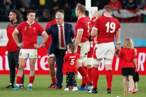 Wales players and coach Warren Gatland after the match.