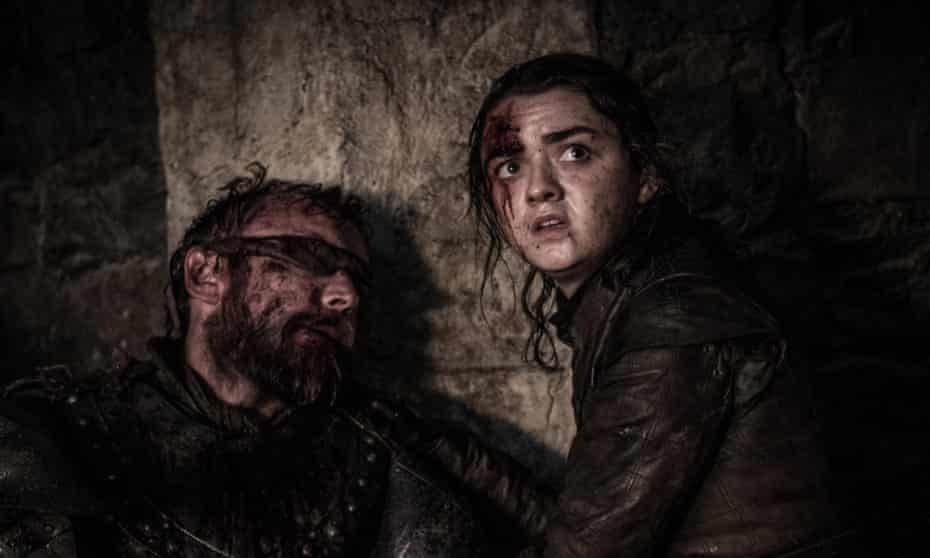 Richard Dormer and Maisie Williams in the Game of Thrones episode The Long Night