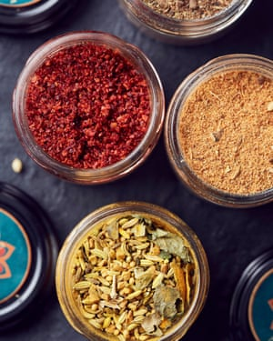 Overhead shot of spice jars