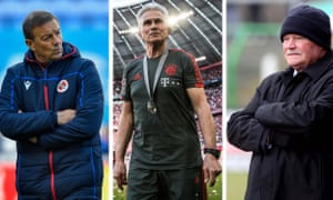 Mind the gap: (from left) Eddie Niedzwiecki at Reading, Jupp Heynckes at Bayern Munich and Ronnie McFall at Glentoran returned second stints many years after their first.