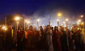 Bangladeshi secular activists take part in a torch-lit protest against the murder of Avijit Roy, founder of the <em>Mukto-Mona</em> (Free-mind) blog site. He had received death threats from Islamists before arriving in the country.