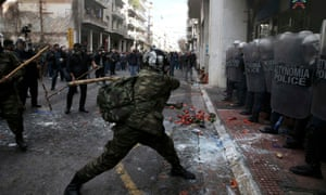 Greek farmers from Crete clash with police during a protest against planned pension reforms
