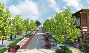 A rendering of the Huntlee main street