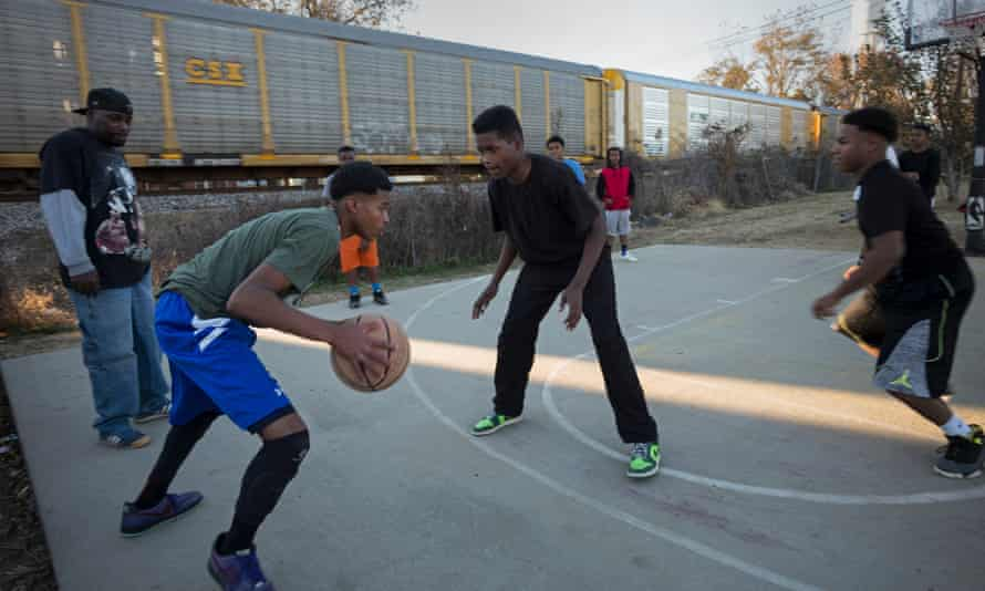 Playing basketball in Tchula.