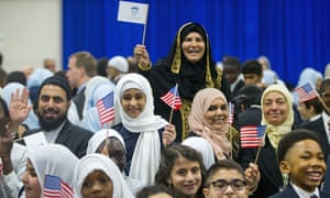 Children from Al-Rahmah school and other guests react after seeing Barack Obama during his visit to the Islamic Society of Baltimore.