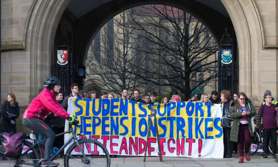 Students join lecturers on the picket line at Manchester University.