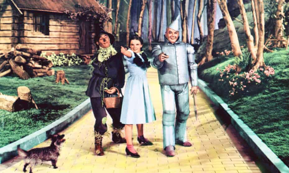 Following the yellow brick road … Ray Bolger, left, Judy Garland and Jack Haley in The Wizard of Oz (1939).