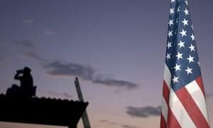 A California Border Watch volunteer patrols the USA/Mexico border near Campo, California.