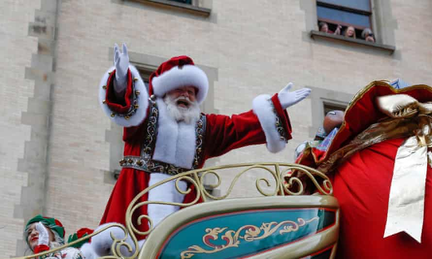 Santa Claus during the Macy's Thanksgiving Day parade in New York, New York, on 28 November 2019.