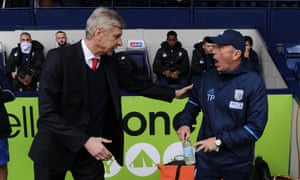 Tony Pulis, right, oversaw a win over Arsène Wenger's Arsenal towards the end of last season and West Brom's fans are divided over whether it was right to sack him.