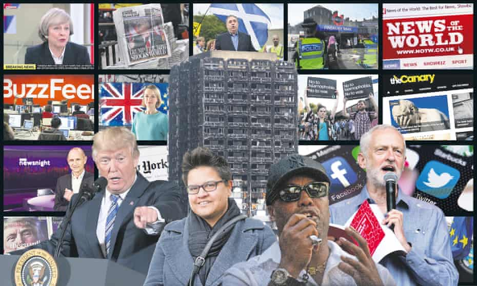 Composite image of Donald Trump, Ismahil Blagrove, Jeremy Corbyn, Kerry-Anne Mendoza, Grenfell Tower and various news sites and broadcasters
