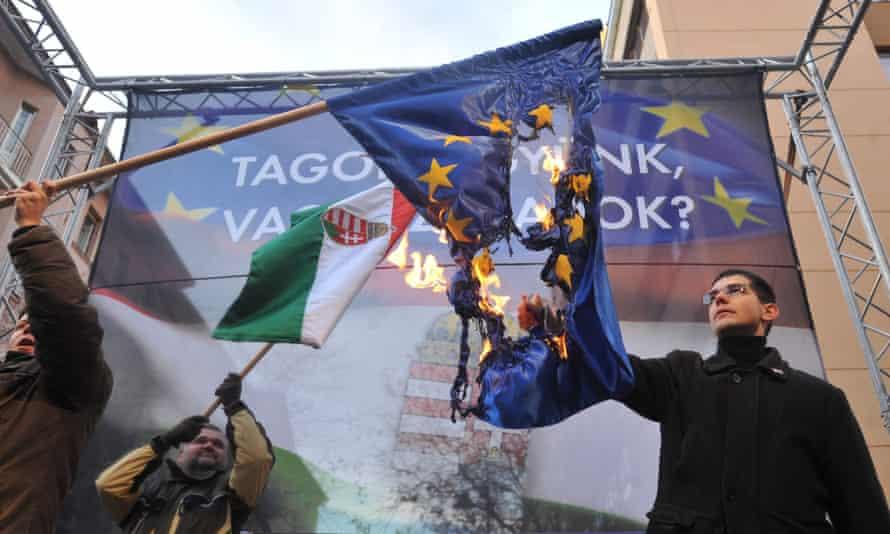 Anti-Europe demonstration by Hungarian nationalist Jobbik party