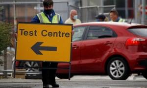 A drive-through coronavirus testing centre in Bolton.